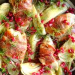 Prosciutto wrapped Chick with Fennel and Pomegranate- a simple weeknight one pot recipe is elegant, healthy and easy! Gluten, dairy and sugar free. Whole30, Wahls Protocol and Paleo. peelwithzeal.com
