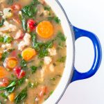 "Healthy one pot turkey kale soup is loaded with veggies. Gluten, dairy and sugar free. Slurp worthy kale ""noodles"" make this the low carb soup perfect for lunch or dinner. peelwithzeal.com"