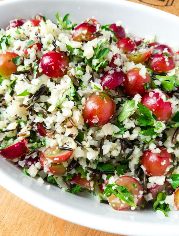 Wild Cauliflower Rice Pilaf with Grapes