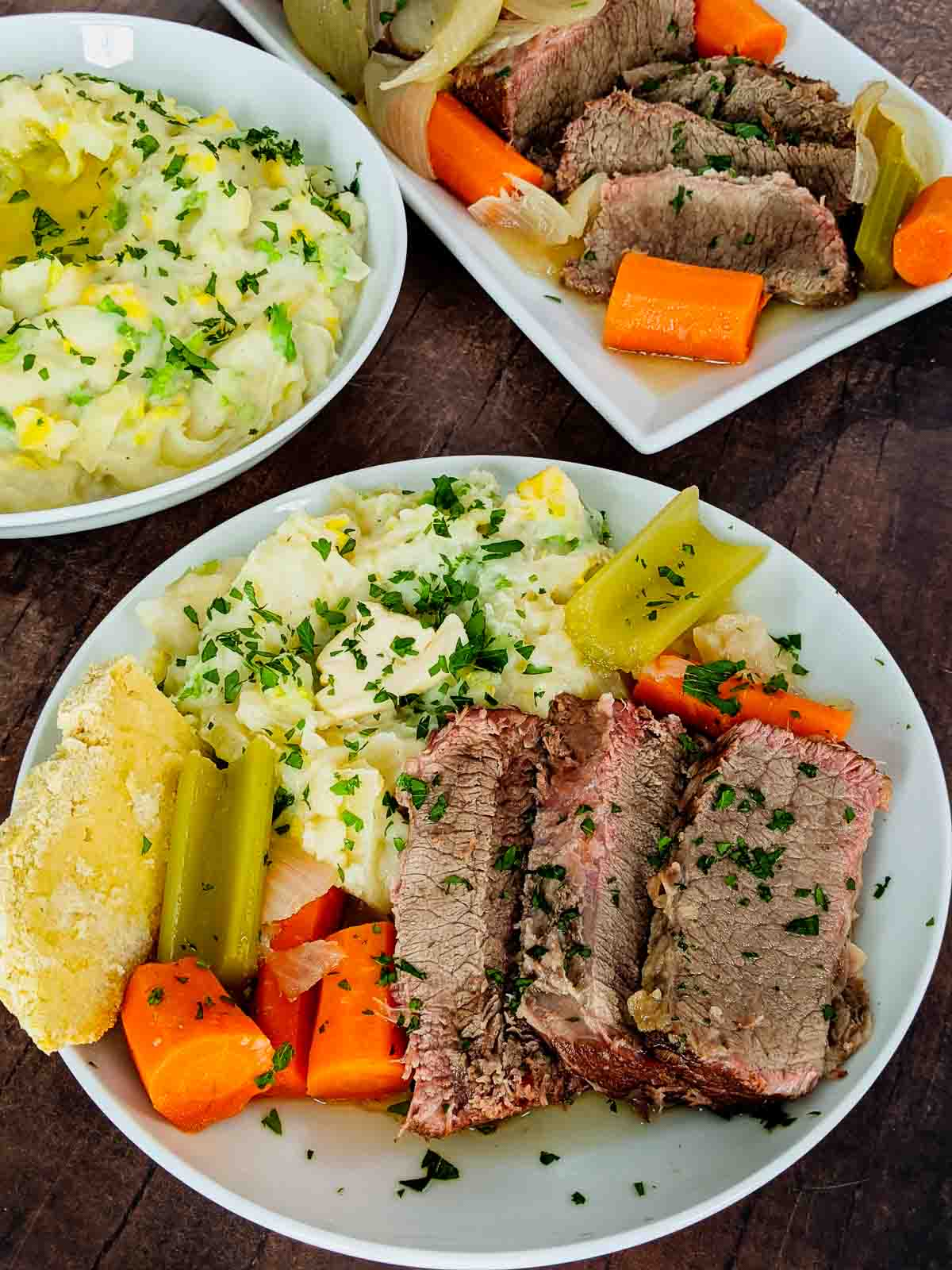 corned beef dinner with colcannon and brisket