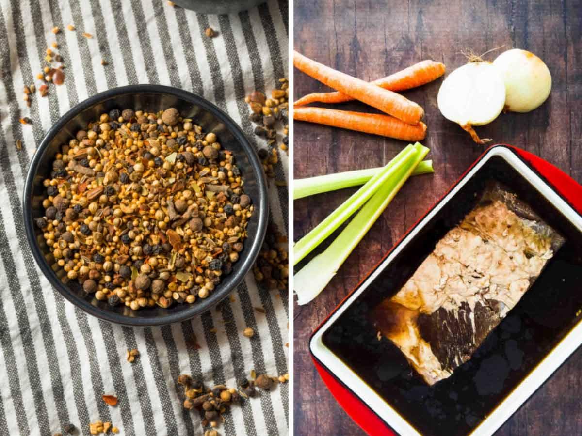 pickling spice in a bowl and brisket in a brine
