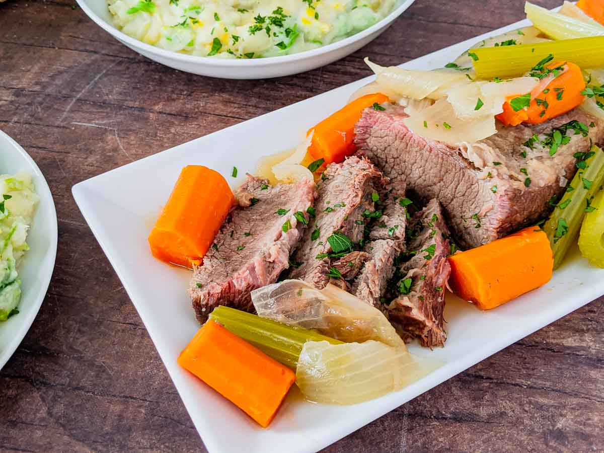 close up photo of corned beef on plate