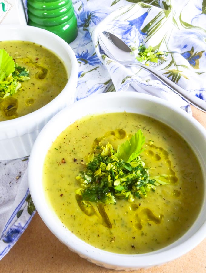 vegan gluten free cream of celery soup with dill