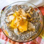tropical mango chia pudding toasted coconut