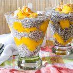 mango chia pudding recipe in glass