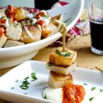 A low carb patatas bravas uses jicama instead of potatoes with smoky romesco and roasted garlic aioli. Easy Spanish tapas style appetizer perfect for your next party. Paleo and Whole30! #spanish #recipe #glutenfree #dairyfree #tapas #jicama #appetizer #peelwithzeal #romesco #aioli