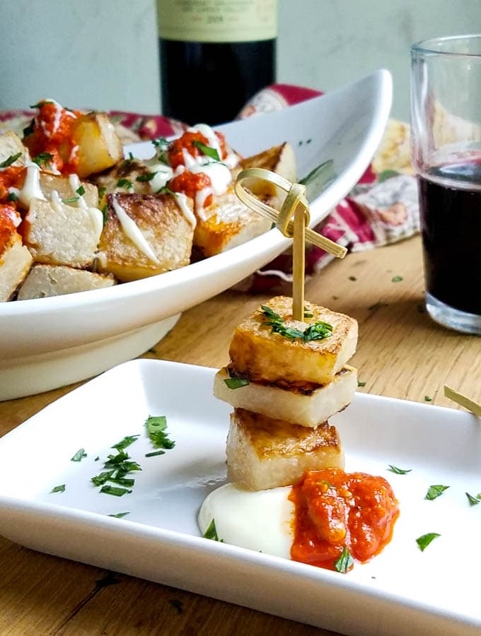 Low Carb Patatas Bravas with Jicama