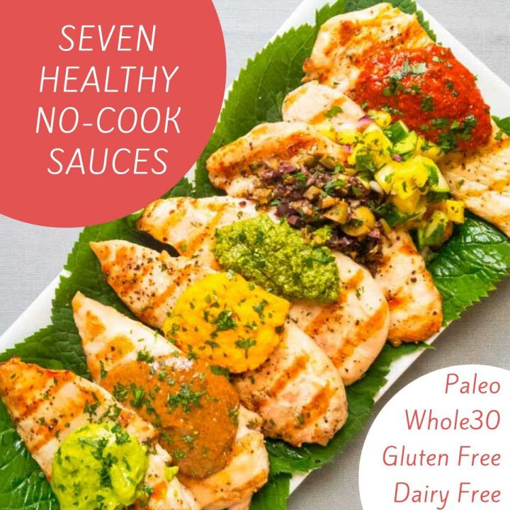 healthy sauces spooned onto chicken breasts