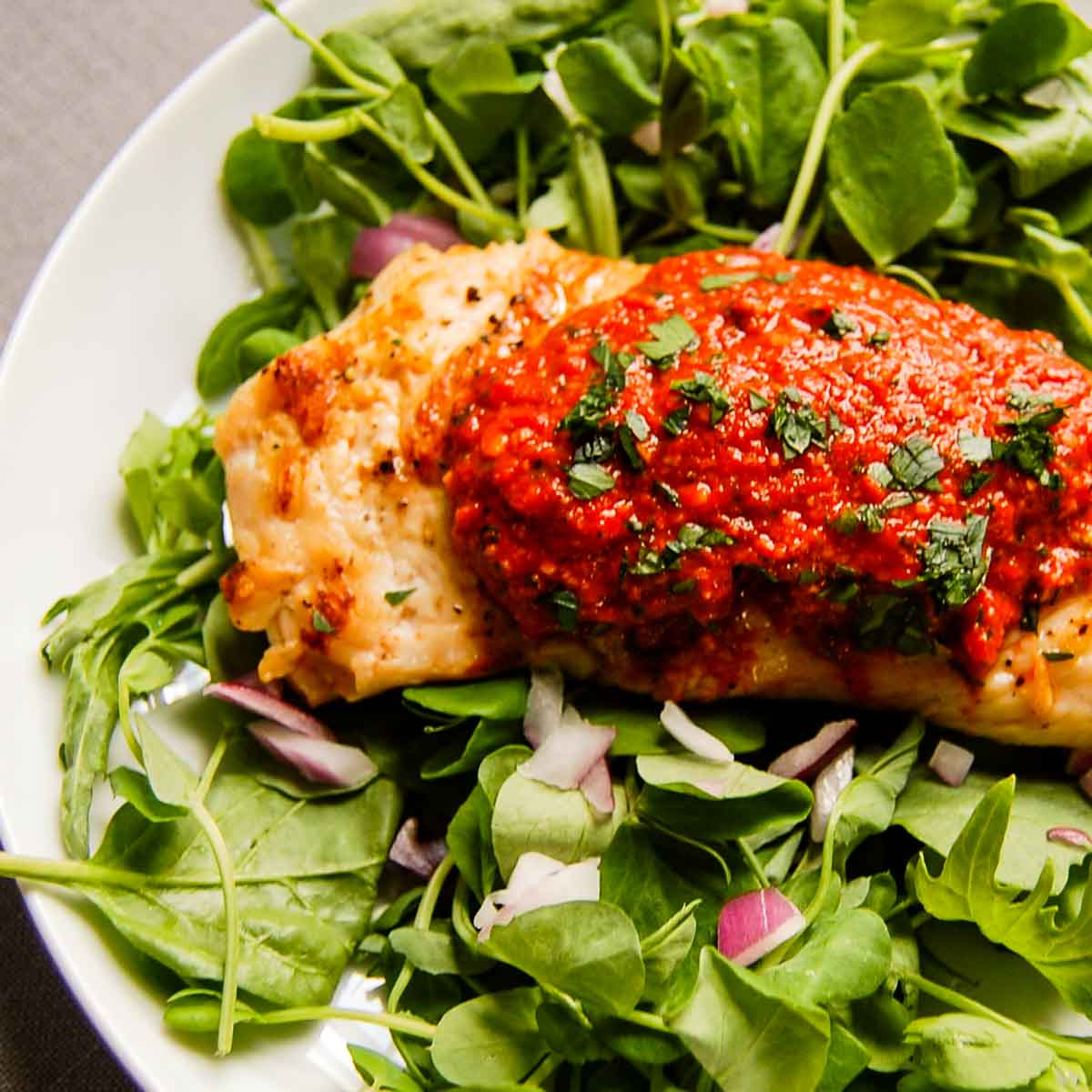 romesco sauce on a grilled chicken salad