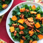 Roasted sweet potato and kale salad with a walnut vinaigrette and spiced walnuts. Healthy fall salad. Vegan. Gluten Free. Paleo. Dairy Free. Easy lunch on the go.