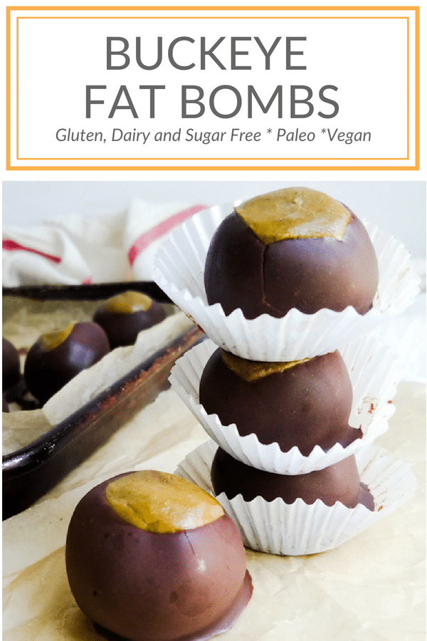 Healthy vegan protein based buckeye candies are refined sugar free. Keto and paleo options. Gluten free, dairy free and loaded with peanut butter and chocolate. #tailgating #snackfood #healthyrecipe #glutenfree #sugarfree #dairyfree #candy #dessert peelwithzeal.com