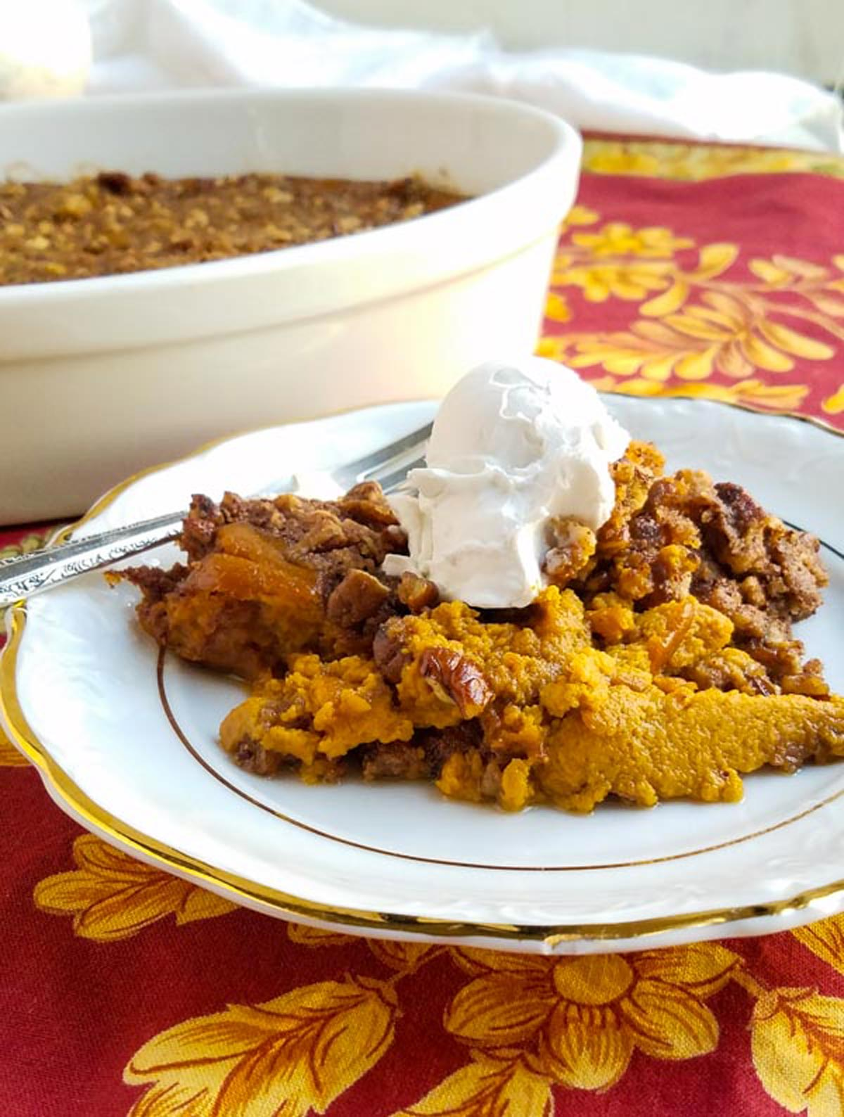 gluten-free dairy-free sweet potato casserole on a plate