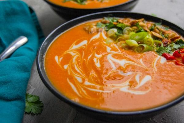 Gluten free spicy thai pumpkin soup dairy free