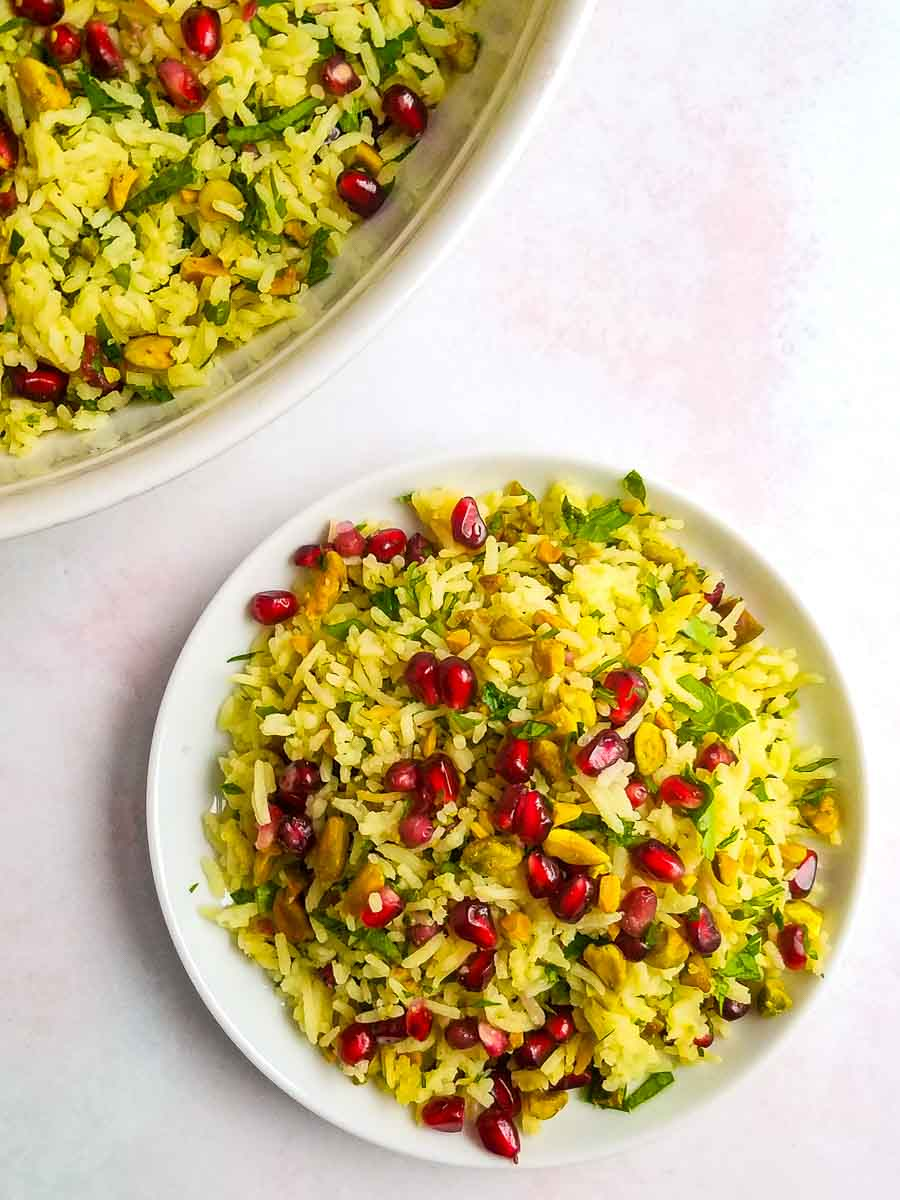 saffron rice pilaf on plate