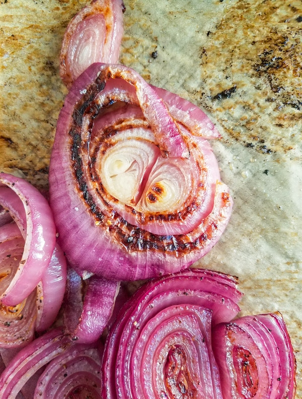 roasted red onion on parchment