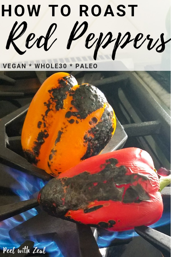 How to roast any pepper. DIY instructions for the grill, the oven and gas stovetop. Roasted red peppers are easy to make, just follow our 4 step tutorial. #recipe #redpeppers #roastedpeppers #roastedredpeppers