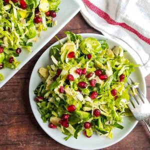 brussel sprout salad recipe on a plate