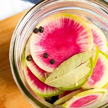 pickled watermelon radish in jar