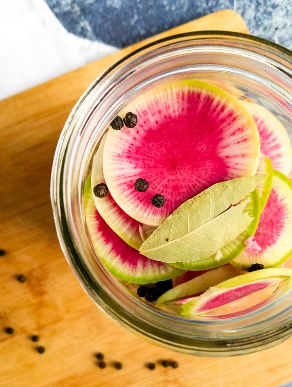 pickled watermelon radish recipe in jar