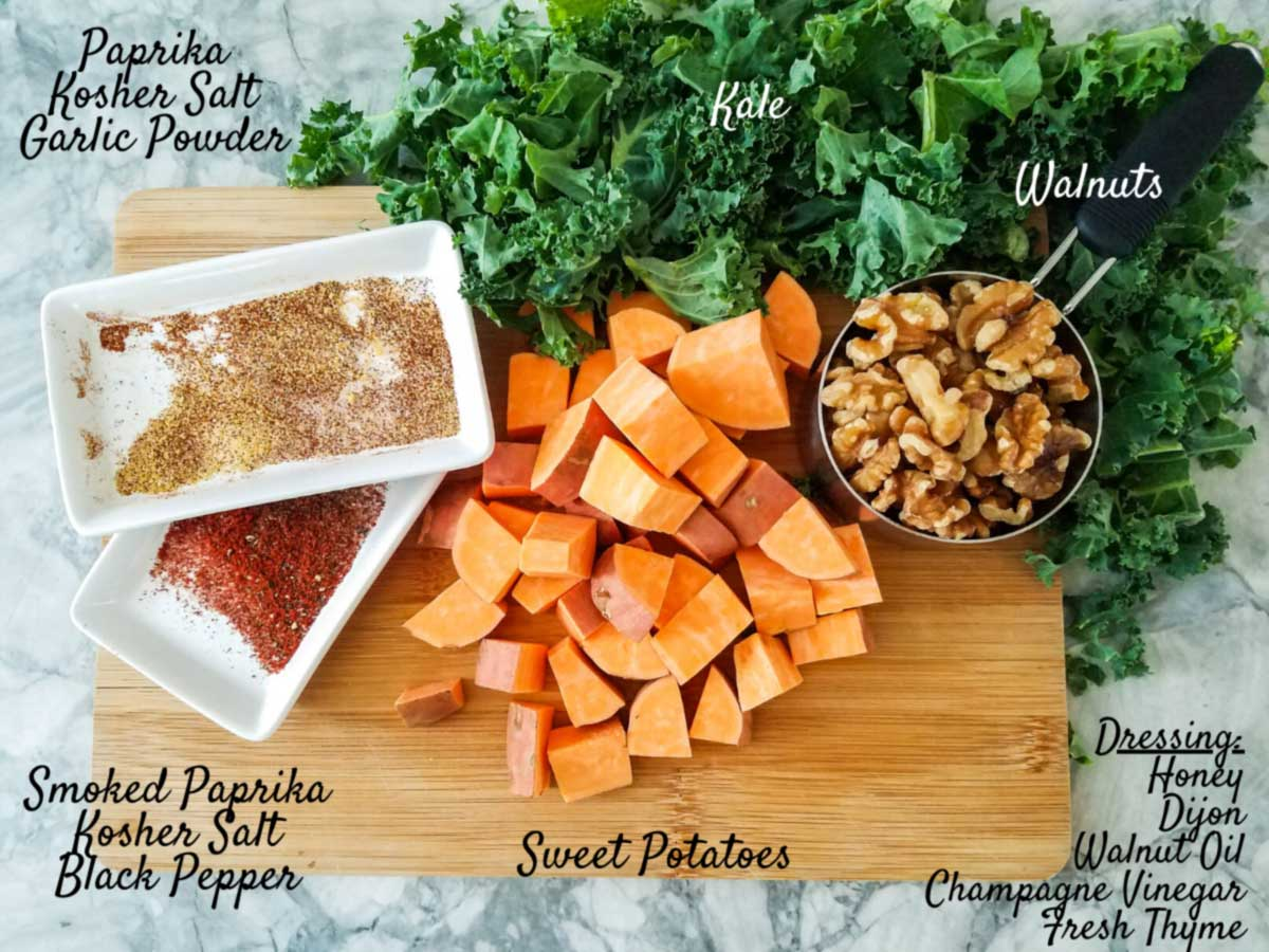 ingredients for sweet potato kale salad