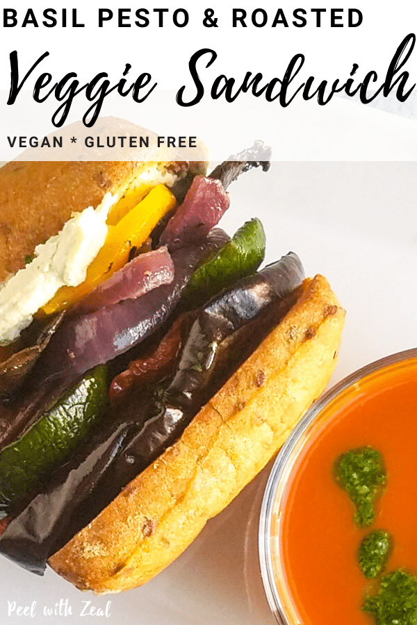 The ultimate roasted vegetable sandwich with vegan basil pesto and roasted garlic cream cheese. #roastedvegetables #vegansandwich #veganlunch #vegetarian #glutenfree #dairyfree #pesto #cashewcream