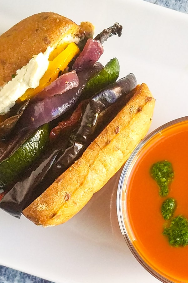 Roasted vegetable sandwich with tomato soup
