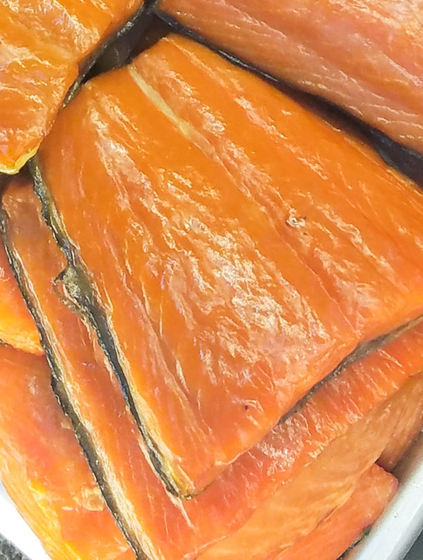 Smoked salmon in deli case