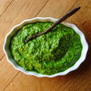 ramp pesto recipe in white ramekin