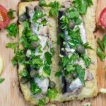 whole sardines on cauliflower toast with herbs