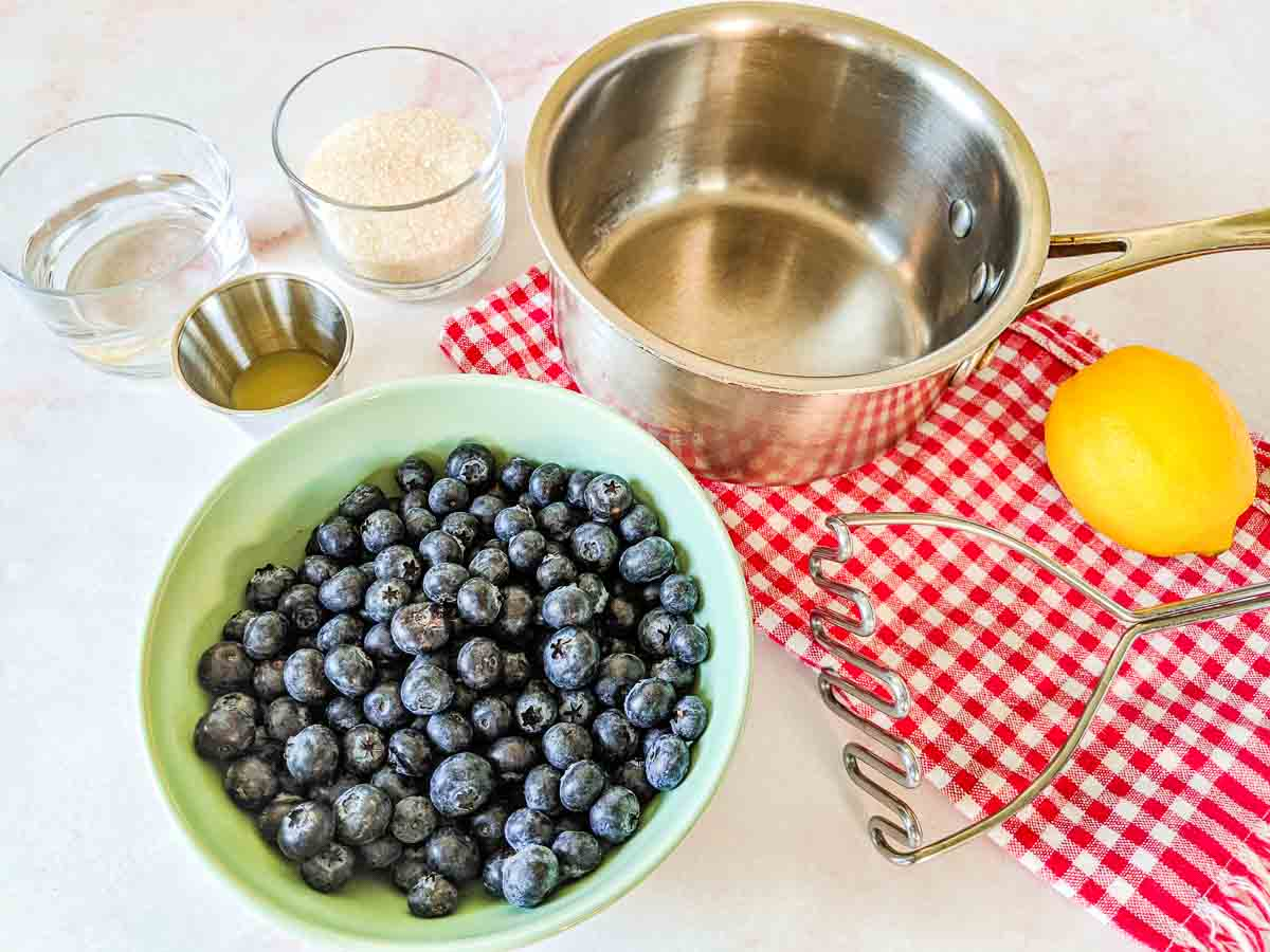blueberry sauce ingredients on counter