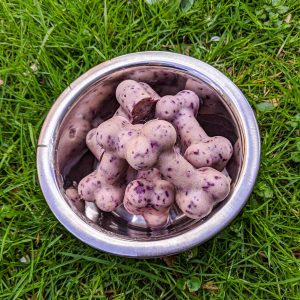 Homemade frozen dog treats for summer in bowl