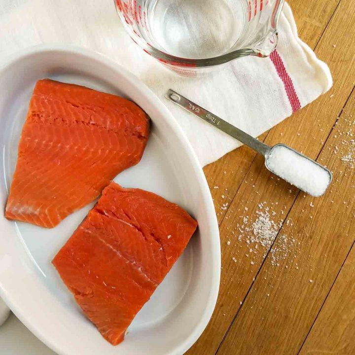 salmon in salt water brine