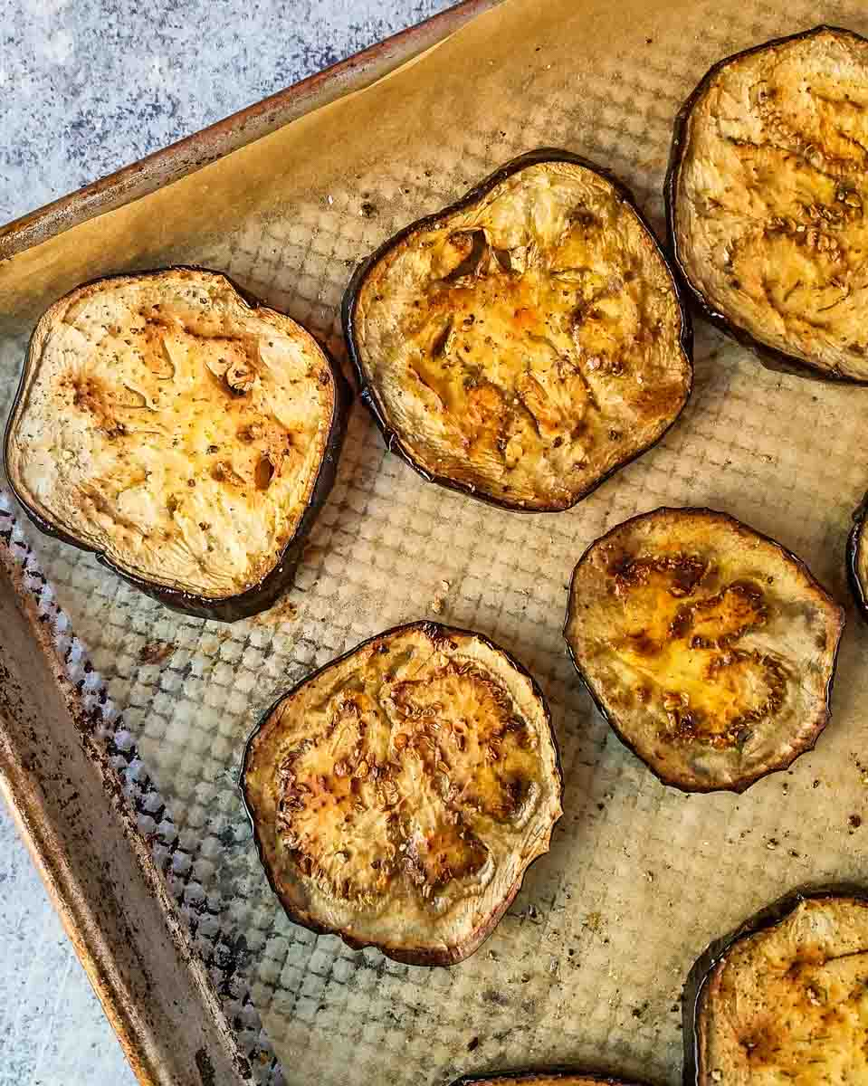 roasted eggplant on baking sheet