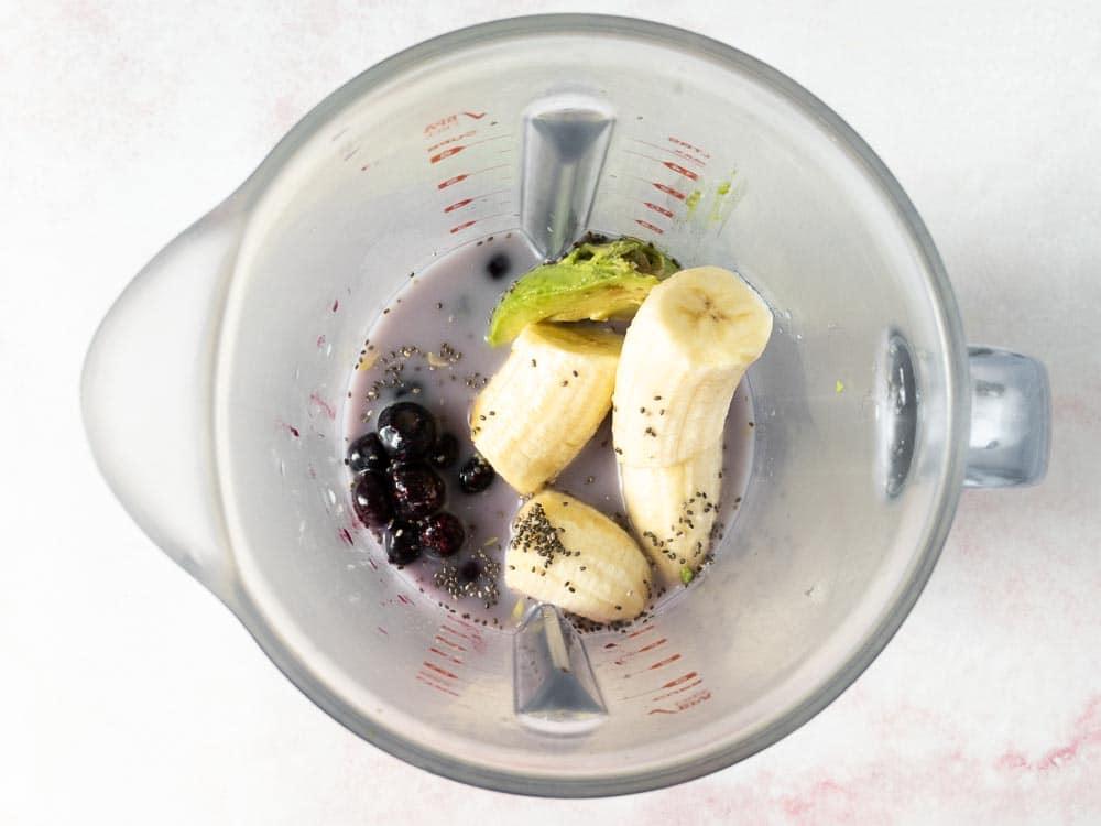 blueberry avocado banana smoothie in a blender