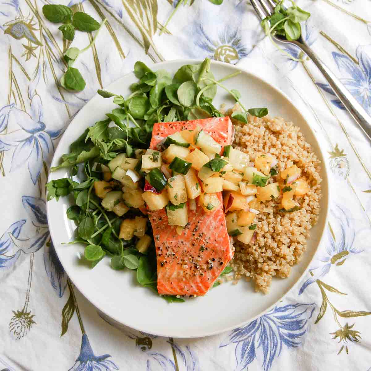 salmon with greens and pineapple salsa