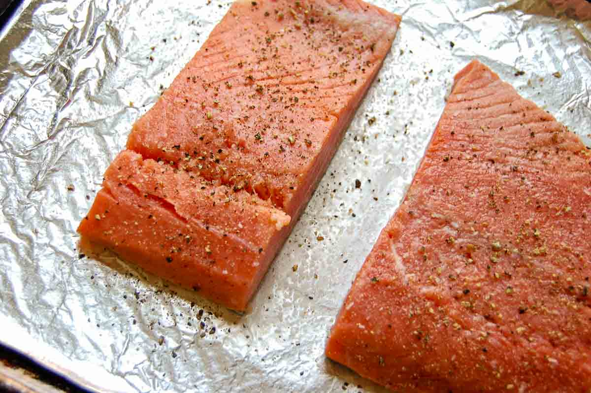 salmon on roasting pan