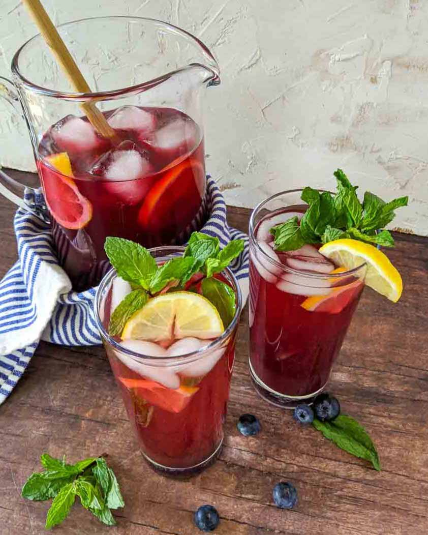 blueberry syrup iced tea pitcher
