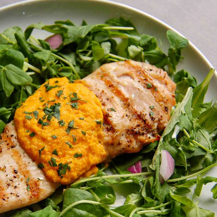 miso ginger steakhouse dressing recipe over grilled chicken salad