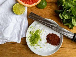 salt rim ingredients on plate