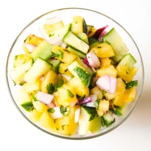 pienapple cucumber relish in a bowl