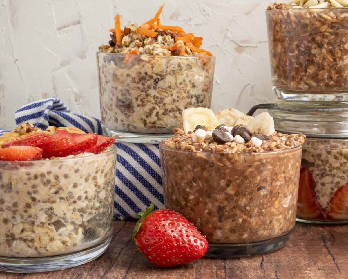 vanilla protein overnight oats in jars