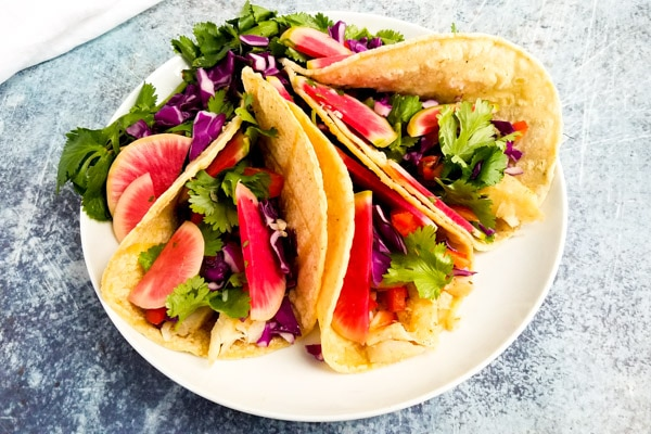 watermelon radish pickles on tacos