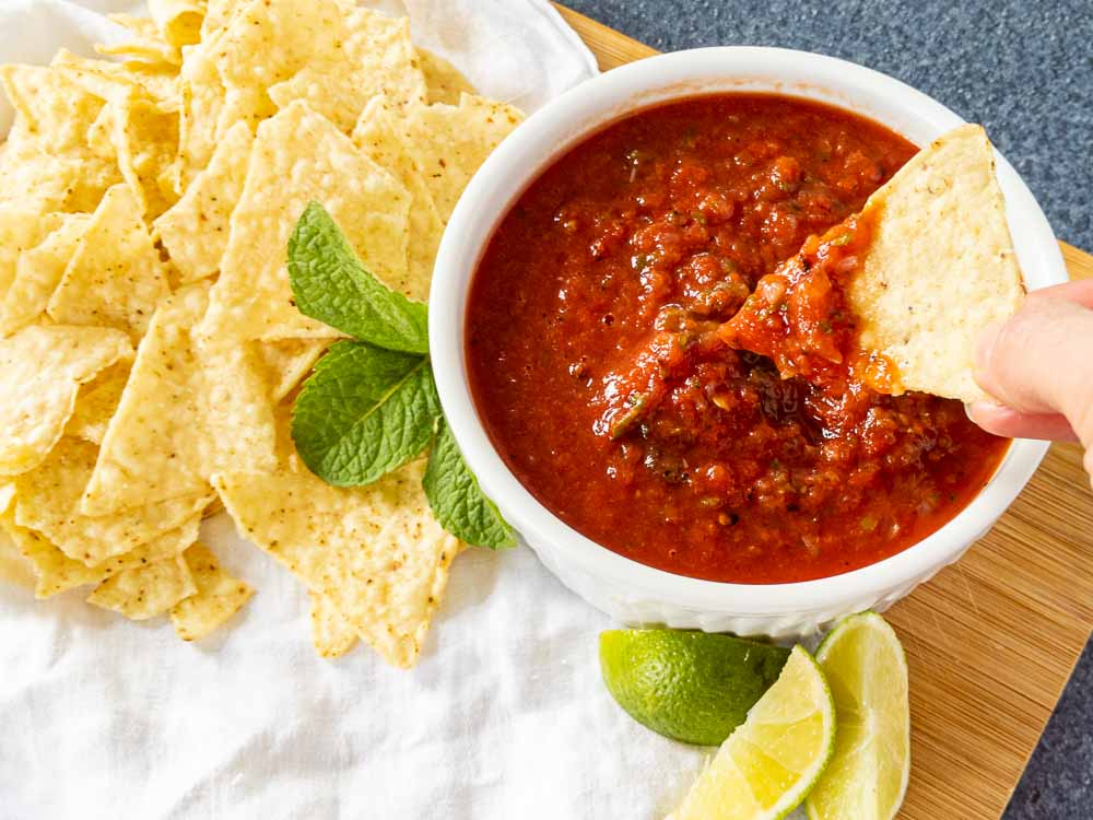 roasted tomato salsa with mint in bowl