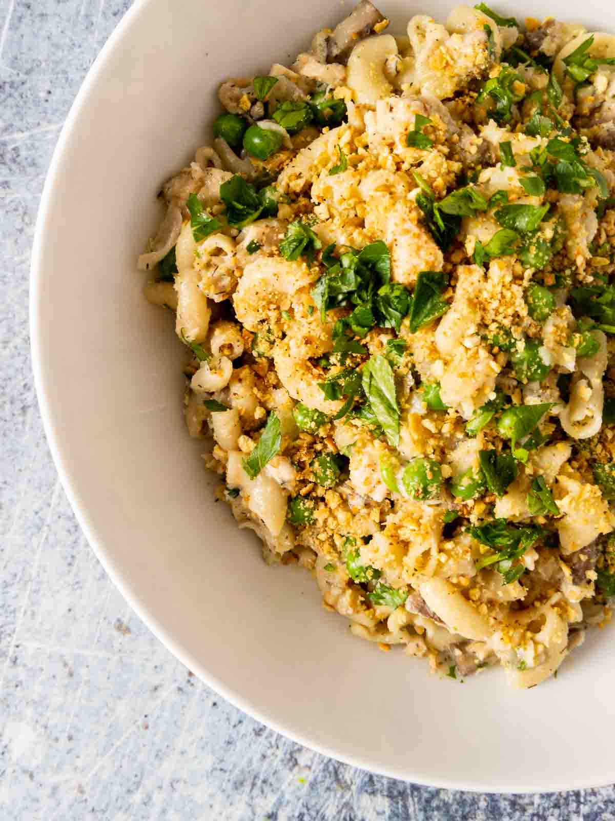 dairy free tuna noodle casserole in bowl