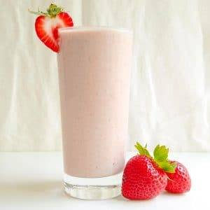 strawberry tahini smoothie recipe in a glass