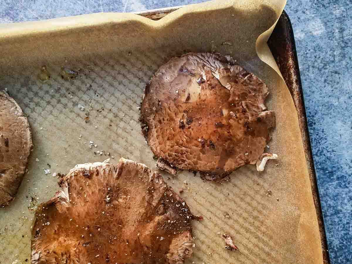 roasted portabella mushrooms on baking tray