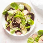 beetroot watercress salad on a plate