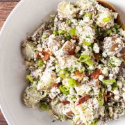 complete blue cheese potato salad recipe in serving bowl