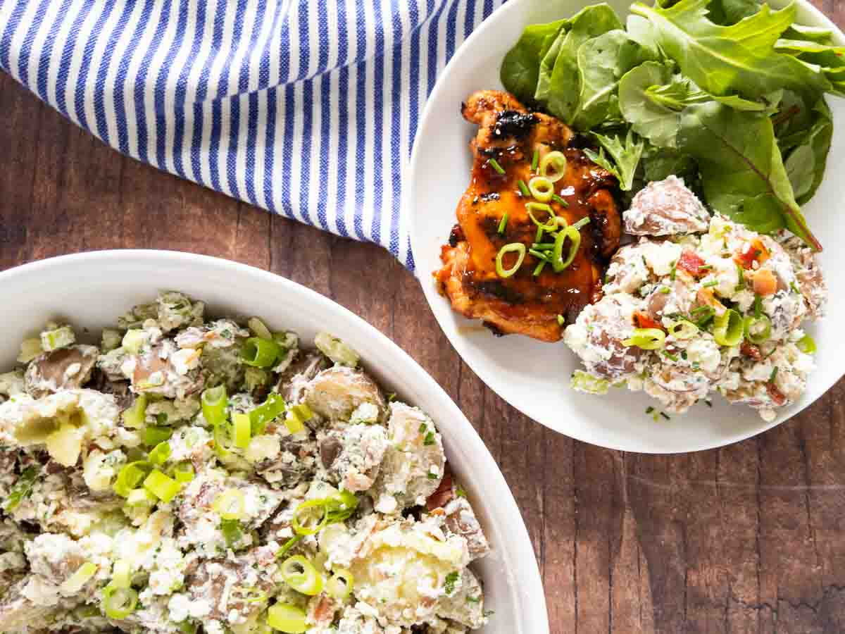 blue cheese potato salad served with BBQ chicken