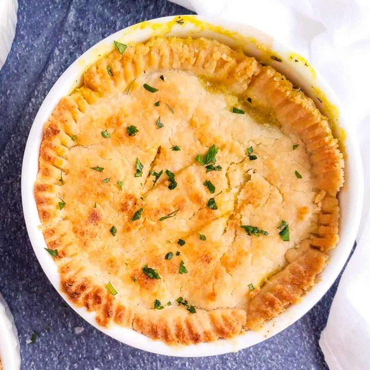 dairy free chicken pot pie in a ramekin